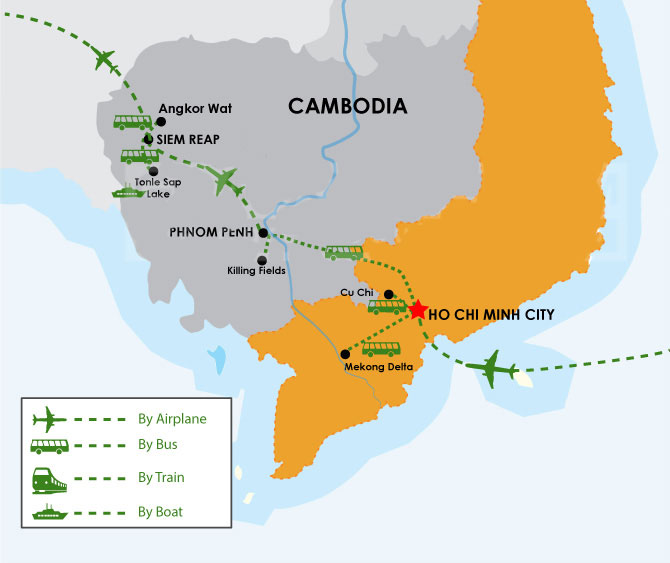 Tour Map: 10 Days South of Vietnam & Cambodia